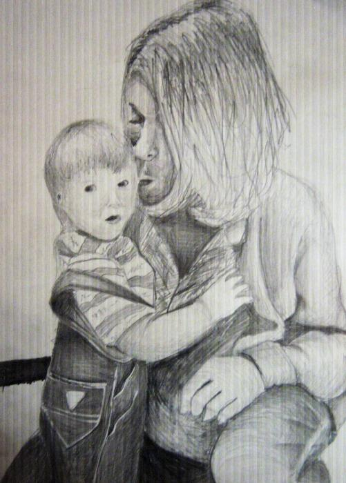 Kurt Cobain, Frances Bean Cobain by Slash